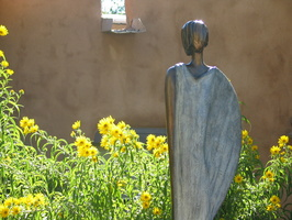 2004 10-Santa Fe Statue-Woman and Wildflowers