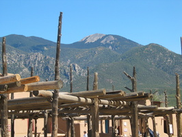 2004 10-Taos Pueblo w-Mountain Background